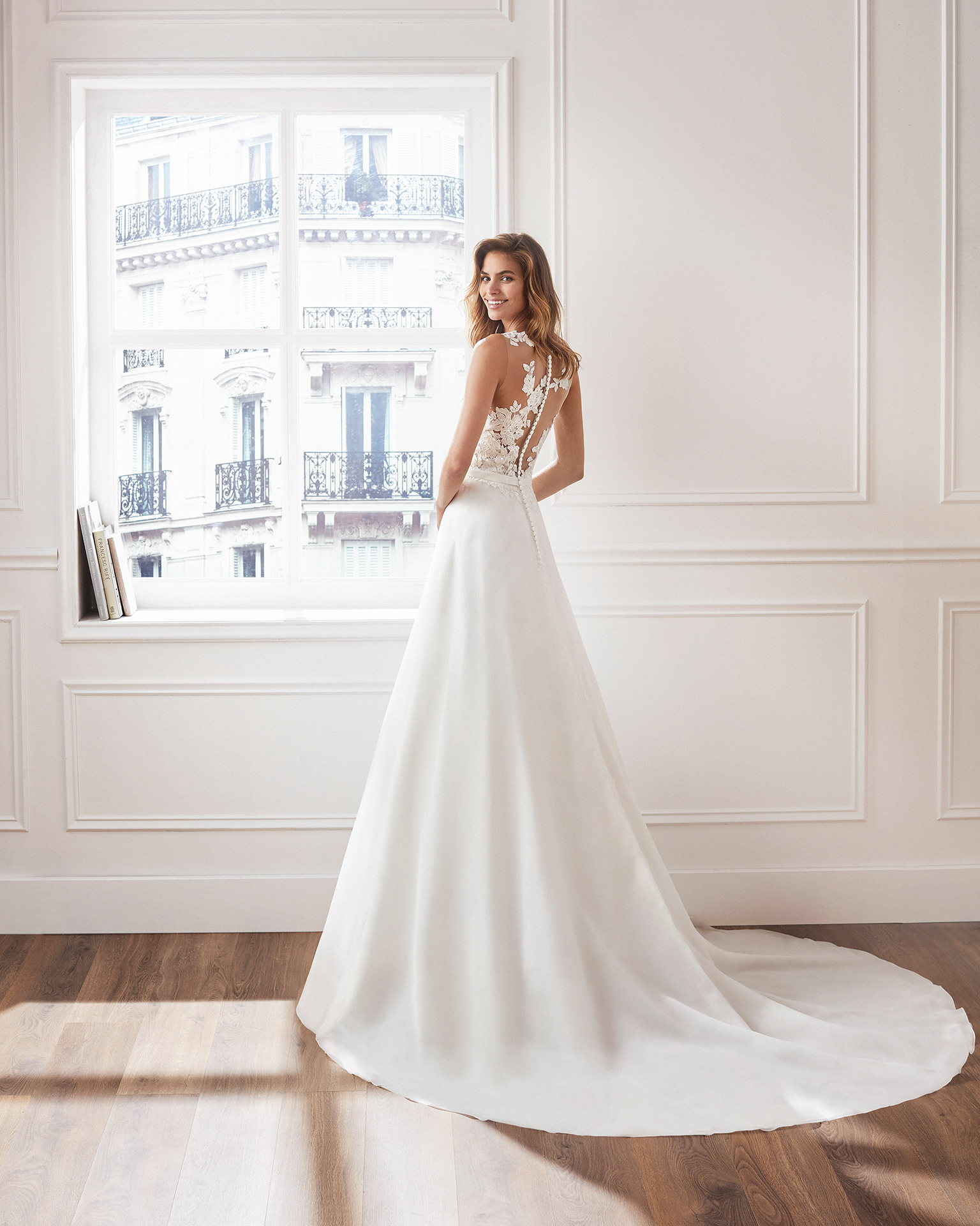 Classic A-line organza wedding dress Beaded lace bodice with illusion neckline. Available in natural. 2019  Collection.