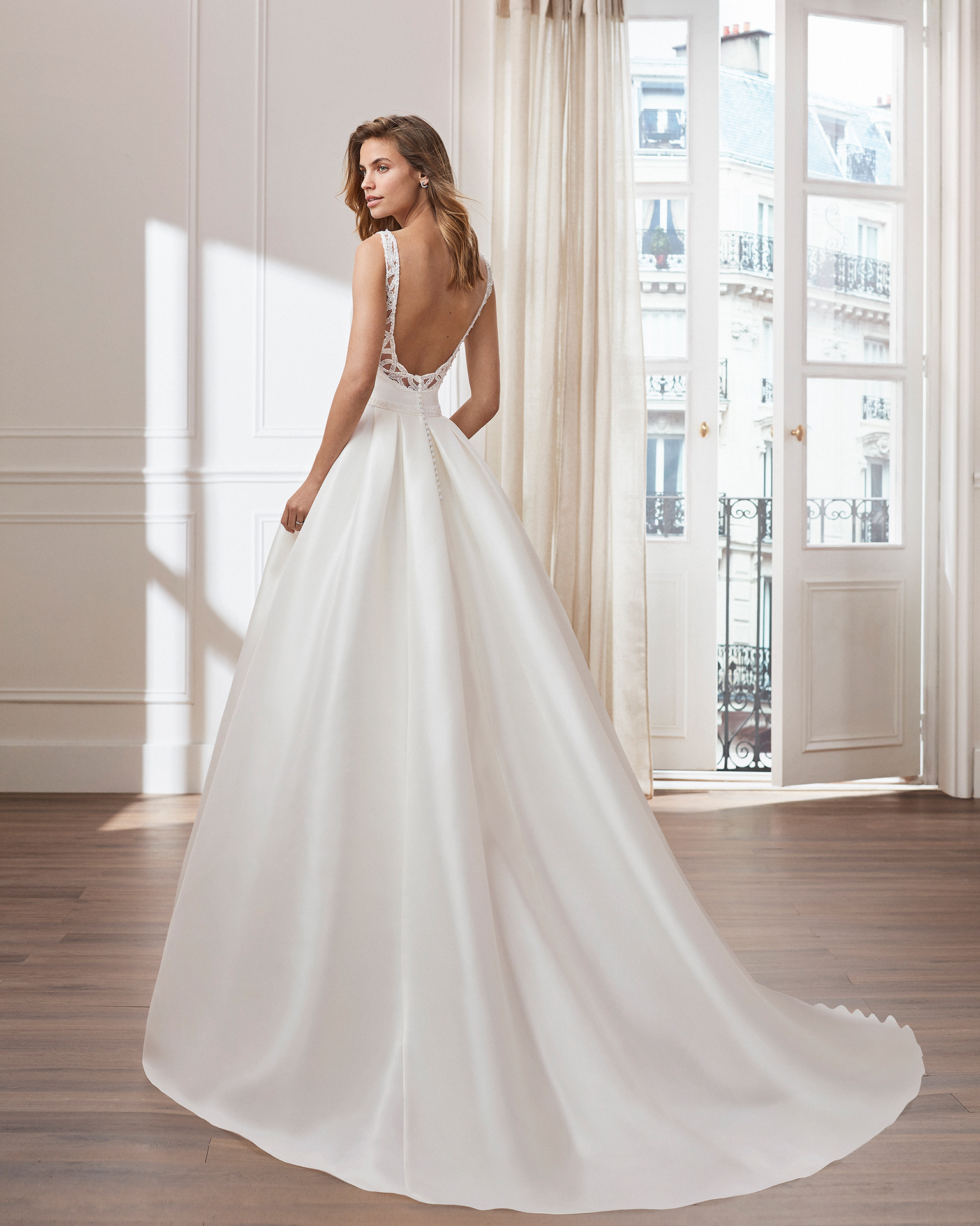 Classic A-line mikado wedding dress. Bateau neckline and jewelled back. Available in natural. 2019  Collection.