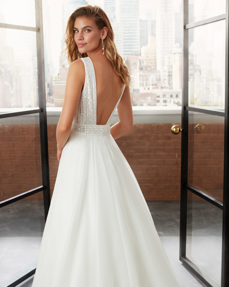 A-line organza and lace wedding dress and train with beading, V-neckline and square back. 2020  Collection.