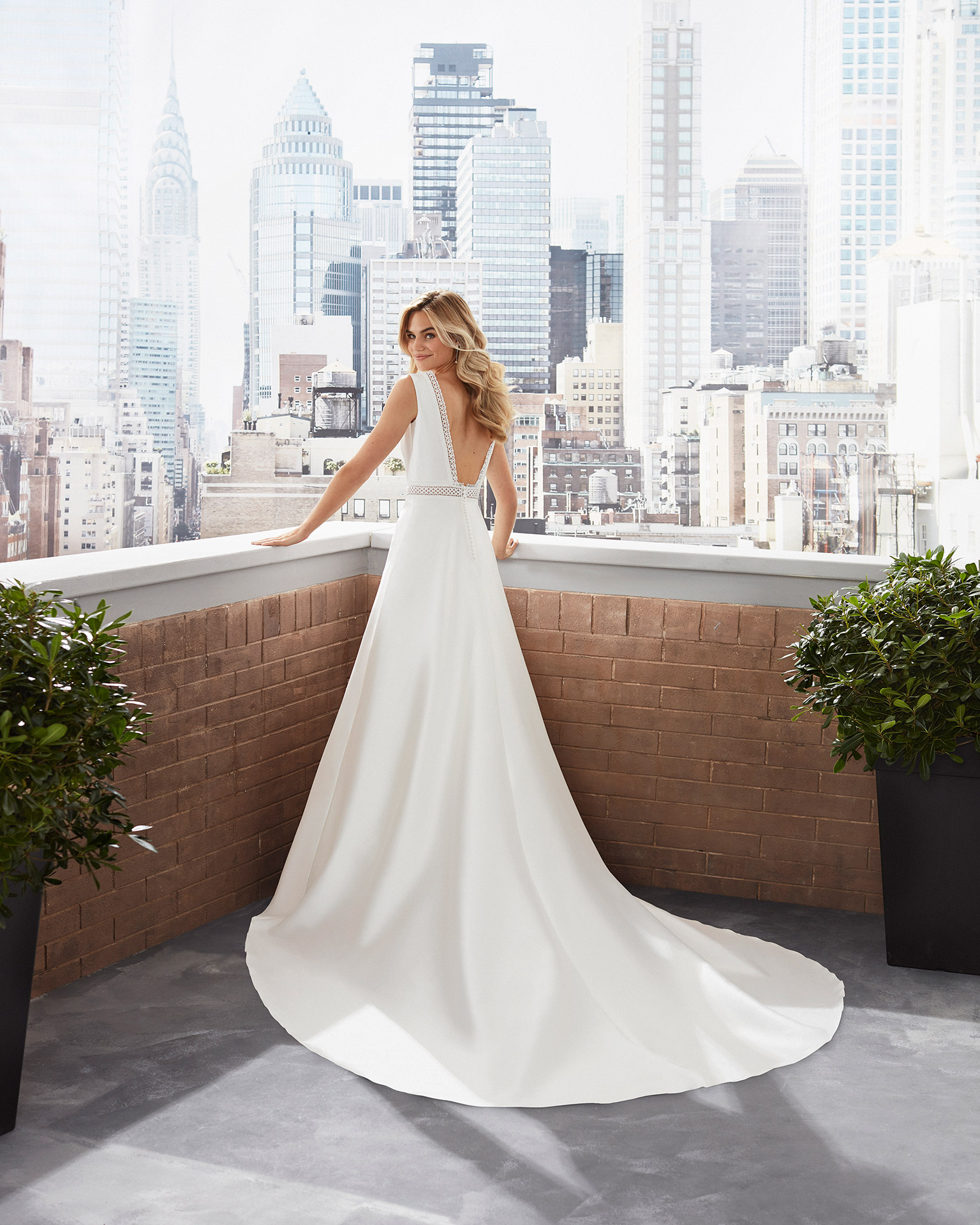 A-line mikado and lace wedding dress with bateau neckline and low back with trim. 2020  Collection.