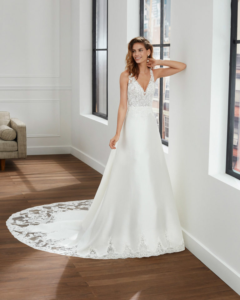 A-line corded lace and mikado wedding dress with V-neckline and back. 2020  Collection.