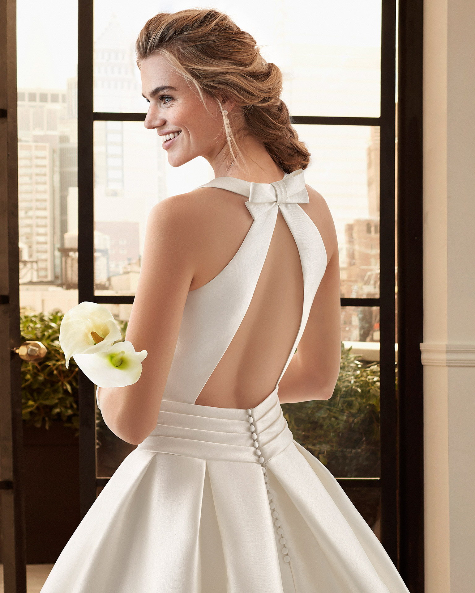 Classic ottoman wedding dress with bateau neckline and low back. 2020  Collection.