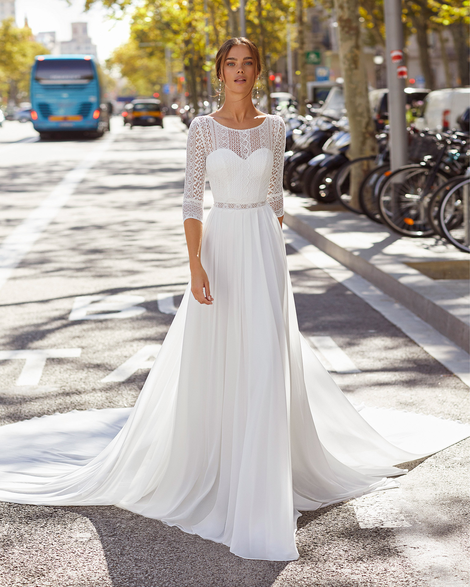 Bridal train in chiffon and lace. 2021  Collection.